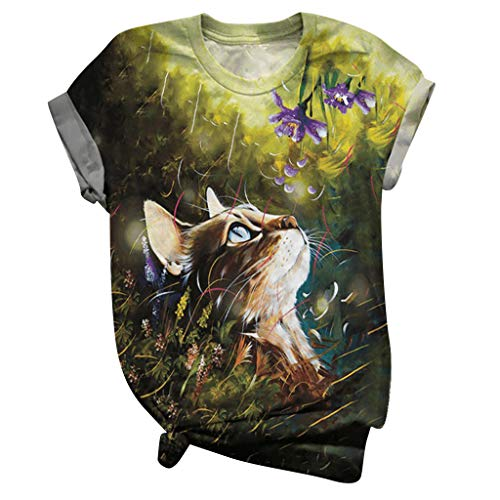 Womens Top Kitty Cat Shirts Cute Plus Size Short Sleeve Round Neck Sweatshirts Casual Casual Summer Tops Yellow