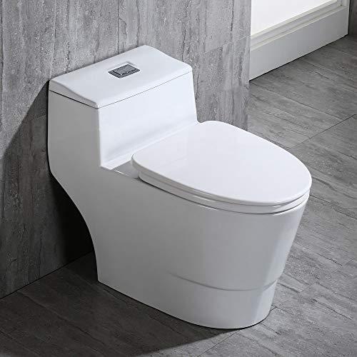 WOODBRIDGE T-0018/B-0735 Dual Flush Elongated One Piece Soft Closing Seat, Comfort Height, White T-0018/B0735, Modern Toilet