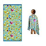 Microfiber Beach Towel for Kids - Thin and Large (30'x60') - Emoticons - Absorbent, Quick Dry, Sand Free, Lightweight, Blanket - Toddler, Girls, Boys - for Sports, Pool, Picnic, Camping, Travel, Swim
