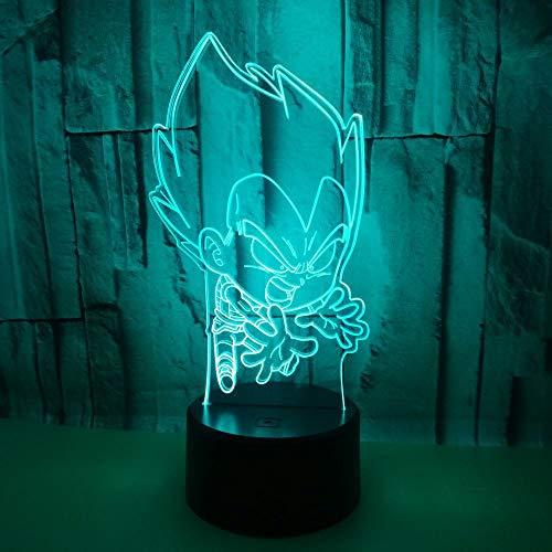 (Nur 1) Bunte Fernbedienung berühren 3d kleine Tischlampe Drachenball kreatives Geschenk 3d führte Nachtlicht