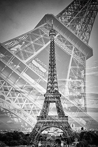 Artland Qualitätsbilder I Wandtattoo Wandsticker Wandaufkleber 60 x 90 cm Städte Paris Foto Schwarz Weiß C7DE Der doppelte Eiffelturm