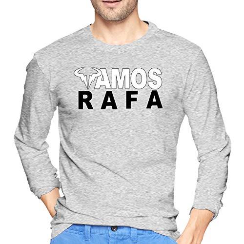 Patrick R Garrett Rafa-Vamos-Rafael-Nadal Camisetas de Manga Larga Estampadas para Hombre Camiseta con Estilo Informal para Ropa de Calle