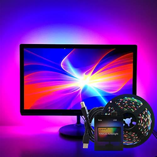 Ambilight TV USB direccionable Ws2812b 5V LED Strip 5050 RGB Dream Color para computadora TV Pantalla de escritorio Luz de fondo 5m 5M