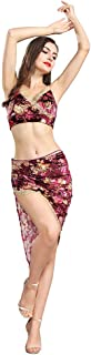 Belly Dance Costume for Women Belly Dancing Skirts Floral Spaghetti Strap V Neck Sleeveless Top Fitted Hip Skirt