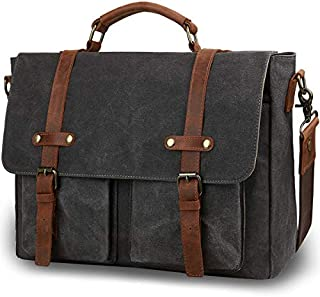 Tocode Vintage Messenger Bag for Men 15.6 inch, Water Resistant Waxed Canvas Genuine Leather Satchel Messenger Bag Computer Laptop Bag Briefcase Large Shoulder Bag for Work/Business/Casual (Black)