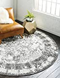 Unique Loom Rosso Collection Vintage Traditional Distressed Gray Round Rug (8' 0 x 8' 0)
