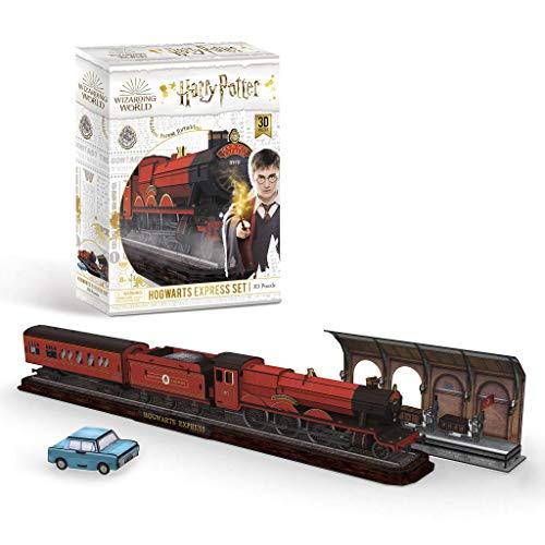 Hogwarts Express, Zug mit Bahnsteig Gleis 9 ¾ und Dem fliegenden Auto Accesorios, Color Coloreado (303)
