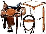 Equipride Westernsattel mit passendem Kopfteil und Vorderzeug und Cinch 100% Leder Walnuss Größe 15-40,6 cm - 43,2 cm - 45,7 cm (43,2 cm)