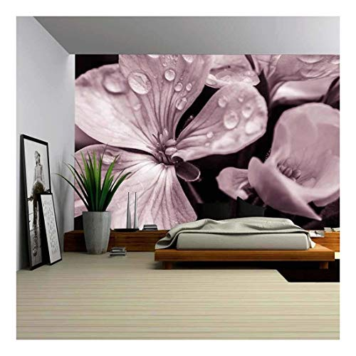 wall26 - Flower with Raindrops - Removable Wall Mural | Self-Adhesive Large Wallpaper - 66x96 inches