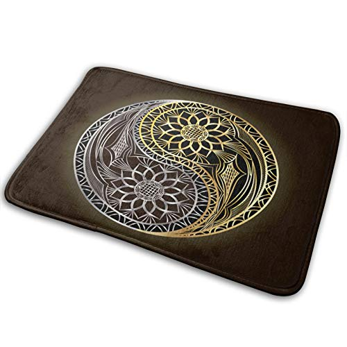 Ying Yin Yang Symbol - Alfombrilla para puerta de bienvenida, diseño abstracto de equilibrio asiático, tamaño L, para interiores y exteriores, alfombra de entrada para zapatos, 39,7 x 59,7 cm