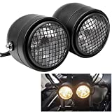 WINALL Motorcycle Dominator Grill Twins Dual Headlight Streetfighter Double Headlamp for Harley Cafe Racer Honda Yamaha Bobber