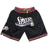 JFGJ 76ers - Pantalones cortos de baloncesto para hombre, con bolsillos, diseño retro, color negro