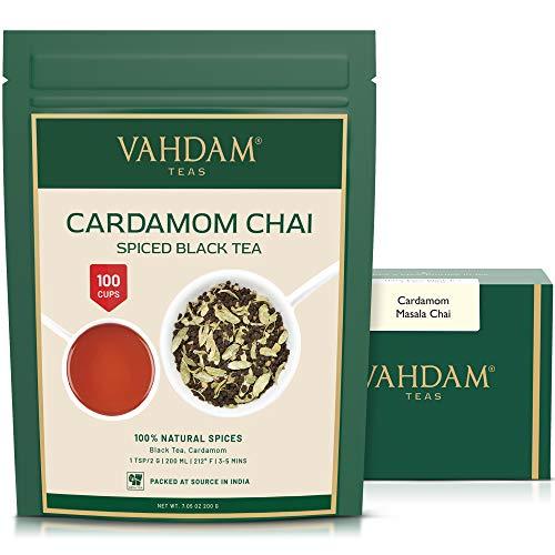 VAHDAM, hojas sueltas de té de cardamomo chai (100 tazas) | El tradicional té de cardamomo de la India | Té chai con especias | Preparar té caliente, té helado o Chai Latte | Masala Chai Tea | 200gr