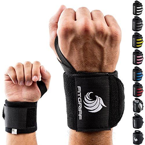 Fitgriff Handgelenk Bandagen [Wrist Wraps] 45 cm Handgelenkbandage für Fitness, Bodybuilding, Kraftsport & Crossfit - für Frauen und Männer - 2 Jahre Gewährleistung (Schwarz-Original)
