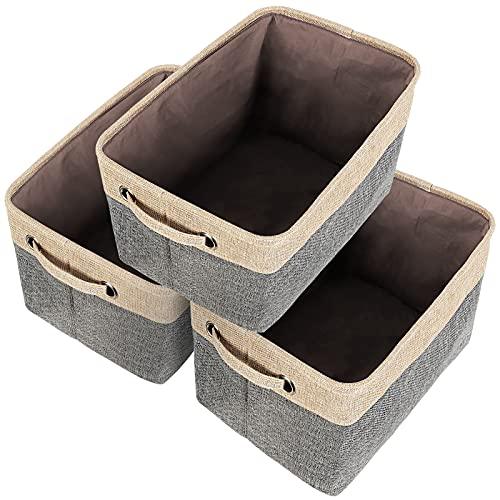 TangDouJM 3er-Pack Faltbar Stoff Aufbewahrungskorb, Groß Leinwand Aufbewahrungsbox mit Griff, für Kleider Spielzeug Regal Büro Kleiderschrank, Schrank Organizer Faltbox (38 x 27 x 24 cm) Grau / Beige