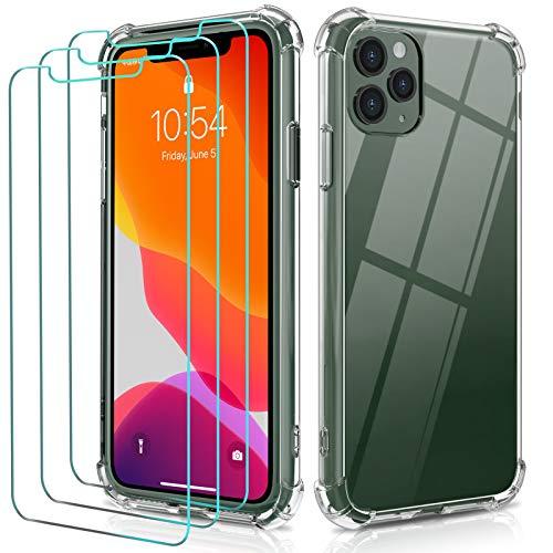 ivoler Funda para iPhone 11 Pro MAX 6.5 Pulgadas + [3 Unidades] Cristal Templado Protector de Pantalla, Ultra Fina Silicona Transparente TPU Carcasa Protector Airbag Anti-Choque Anti-arañazos Caso