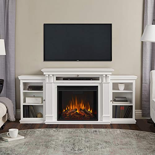 Real Flame Media Calie Electric Fireplace in White Décor Dining electric Features Fireplaces Home Kitchen
