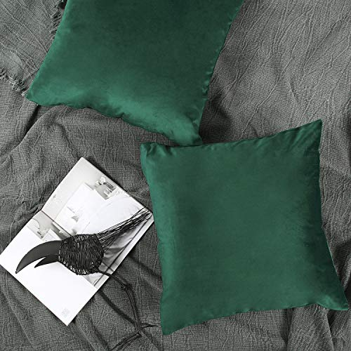 YINFUNG Emerald Cushion Covers Green Velvet Pillow Cover Solid Sofa Throw Pillow Cover Toss Pillow Case 2 18 x 18 Soft Accent Pillow Cover Couch Bedroom Dark Green Cushion Cover