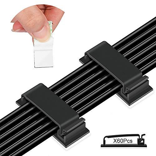 60 Stück Kabelclips Selbstklebende,Hochviskose Kabelklemmen, Kabelhalter mit Unterlage,für TV-PC Laptop Ethernet-Kabel Desktop Home Office(Schwarz)