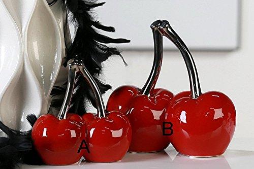 Escultura moderna de cerámica rojo cereza double Cherry/plata altura 21 cm