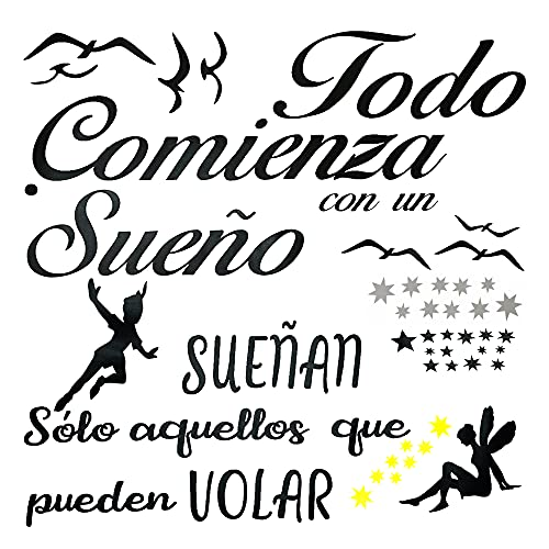 2pcs Pegatinas de Pared Vinilos Frases Español Motivadoras Citas Inspiradoras Letras Stickers Adhesivos Negro Decorativos Habitación Dormitorio Salón Oficina