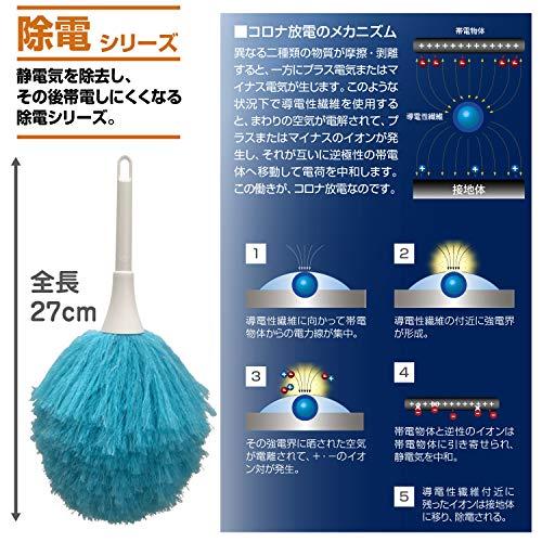 山崎産業ほこり払い静電気除去ニュー除電払いミニ全長27cmブルー189397