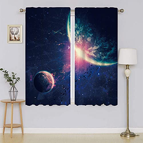 Cortinas y cortinas opacas para galaxia, espacio exterior Mars Planets, cortina ancha opaca, para puerta de patio, sala de estar de 55 x 72 pulgadas, ancho