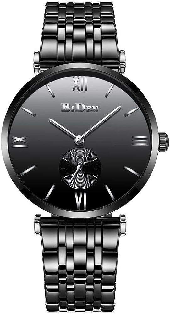 BTIHCEUOT El Reloj del Movimiento del Cuarzo de la Moda de los Hombres, Banda de Acero Inoxidable con la Prenda Impermeable Grande de la exhibición del dial para el Negocio
