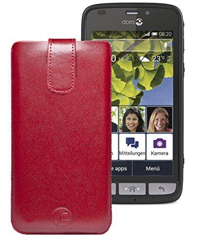 Original Favory Etui Tasche für / Doro Liberto 820 Mini / Leder Etui Handytasche Ledertasche Schutzhülle Hülle Hülle Lasche mit Rückzugfunktion* in Rot
