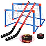 Baztoy Hockey Set per Bambini, Kit Hockey Gioco di Allenamento con 2 Obiettivi e 2 Bastoni Palla da Hockey Giocattolo per Bambini 3 4 5 6 7 8 9 10 Anni Giochi Sport Interno Regalo Compleanno Bambino