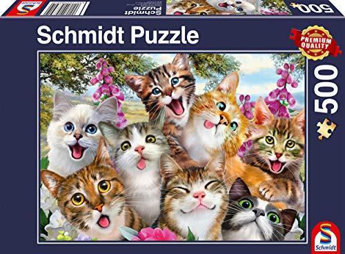 Schmidt Spiele Puzzle 58391 Katzen-Selfie, 500 Teile Puzzle, bunt