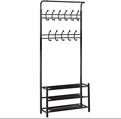 Amazon.com: Yaheetech Hall Tree Metal Entryway 18 Hooks Coat ...