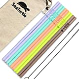 SeaTurtle Silicone Straws - Pack of 10 Reusable Silicone Drinking Straws with Cotton Carry Bag and 2...