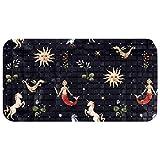 Biaoya Doormats Antideslizantes Alfombras de entrada para interior/exterior/puerta delantera/baño/cocina/dormitorio, sirena negra unicornio