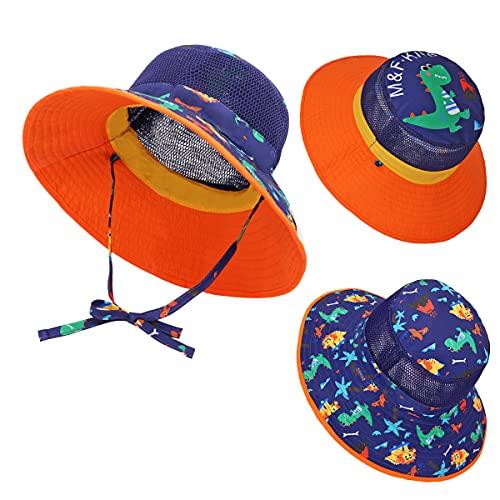 Baby Sun Hat Reversible - Mesh Breathable Summer UPF 50+ Protection Sun Hats Wide Brim for Toddler Kids Boys Girls Beach Cap Dinosaur
