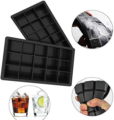 Relaxbx (2 Pack) Ice Cube Tray - Silicone FDA Goedgekeurd BPA Free Food Grade Ice Molds, 15 kubussen per Ice Cube Tray voor Cocktails Whiskey Pudding Jelly ijslede, Freeze Mold, Jelly, Food Grade Silicone