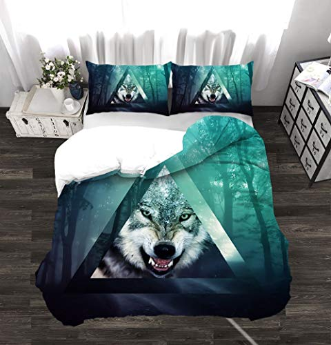 N/D 3d Wolf Digital Printing Bedroom Home Textile Three Piece Printed Soft Cotton Boys' Room Quilt Cover Pillow Case 229x229cm A