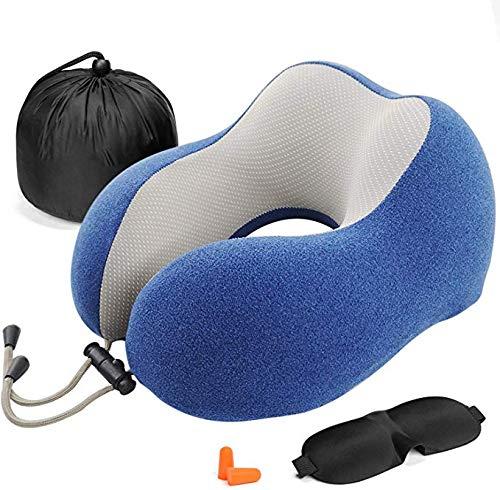 Almohada de Viaje Viscoelástica de Espuma de Memoria, Almohada de Cuello, Almohadas de Acampada, Almohada Ortopédica Cervica, Soporte de Cuello, con Máscara de Ojos y Tapones (Blue)