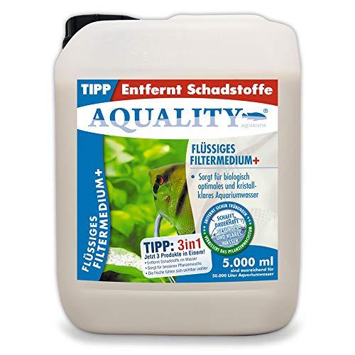 AQUALITY Aquarium Flüssiges Filtermedium (Kristallklares Aquariumwasser - Entfernt Schadstoffe - Besserer Pflanzenwuchs - Wasseraufbereiter - Wasseraufbereitung), Inhalt:5 Liter