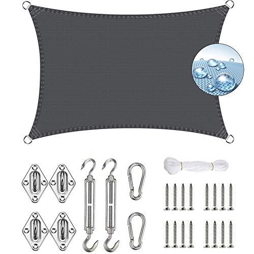 AMZERO Toldo Vela de Sombra 4.5x7.5m Toldo Vela IKEA Impermeable Kit de Fijación para Jardín Patio Terraza Balcón, Gris