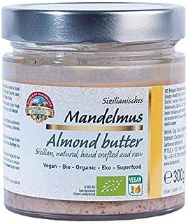 Pure biologische Siciliaanse bruine amandelboter 300g amandelboter, amandelpuree, amandelboter, notenboter gemaakt van 10...