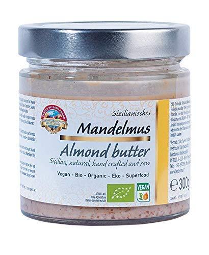 Crema de almendra natural siciliana orgánica pura 300g BIO Manteca crudo, mantequilla, puré, 100% de almendras, sin sal y azúcar, vegana, almond butt