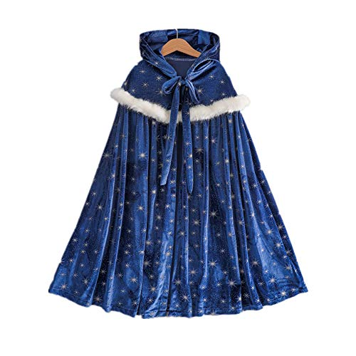 Proumhang Disfraz de niña Capa con Capucha Cosplay Disfraz de Princesa con Estrellas Disfraz de Felpa Halloween Carnaval Fiesta de Navidad-L, Azul Oscuro