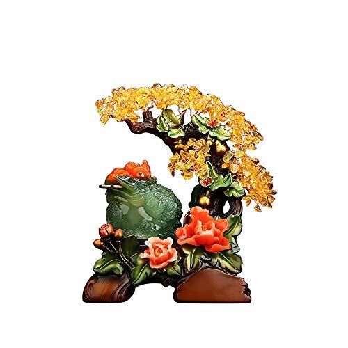 MMJJQWE Estatua de Rana de Riqueza China de árbol de Dinero de Crista