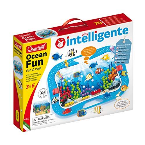 Quercetti 0969 Quercetti-0969 Ocean Fun Fish & Pegs, Steckspiel