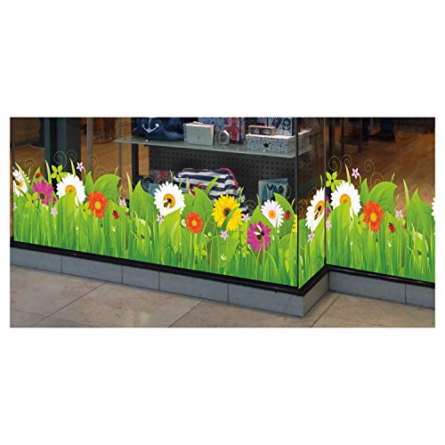 Stickers4 Sommer-Frühlings-Fensteraufkleber– Wildwiese mit Blumen und Insekten – selbsthaftende Fenster-Bordüre – saisonale Fenster-Deko