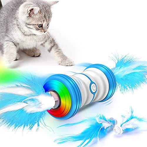 Interactive elektrische Katze Spielzeug, 2021 neueste Auto-Drehen intelligente Katze Spielzeug, Ersatz Feder USB aufladbar und buntes LED leuchtende Katze Spielzeug Spielzeug geeignet für Katzen Übung
