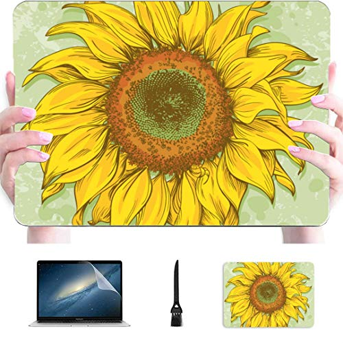 Laptop Protector Case Hand Drawn Realistic Vintage Sunflower Drawing Plastic Hard Shell Compatible Mac Air 13' Pro 13'/16' Mac Computer Case Protective Cover For Macbook 2016-2020 Version
