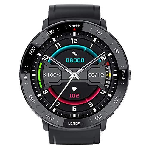 Relógio inteligente para homens e mulheres, monitor de atividades ao ar livre, tela sensível ao toque com lembrete inteligente, pedômetro, monitor de frequência cardíaca, monitoramento do sono, preto