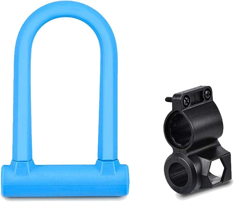 UShaped Lock Sturdy UShaped Bicycle Arc Lock AntiTheft Chain with Frame Support Includes Two Keys Bicycle Lock Mountain Bike Lock MultiFunction Lock AntiTheft Lock blueee